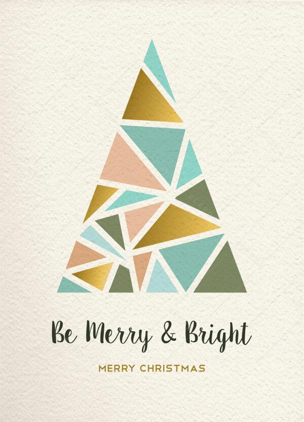 Božićna čestitka sa drvcem u modernom trokutnom stilu GC0125