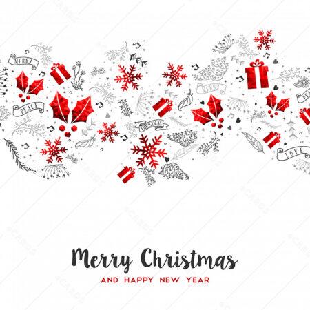 Božićna kartica sa srebrno crvenim Božićnim ukrasima GC0120