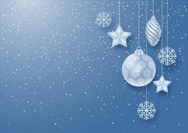 Božićne kuglice u pahuljicama snijega čestitka GC0126