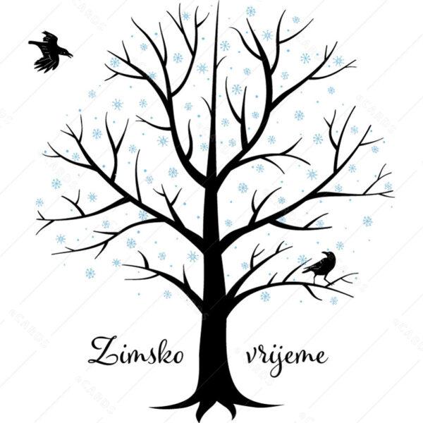 Čestitka drvo u zimi gc0156