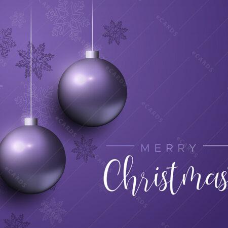 Božićna čestitka ljubičasta sa kuglicama GC0134