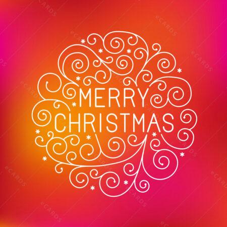 Božićna čestitka sa kuglicom u žuto pinky crvenom tonu GC0116