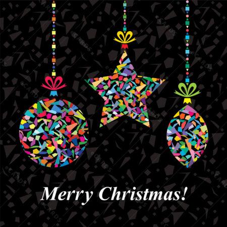 Božićna čestitka sa raznobojnim Božićnim ukrasima GC0058