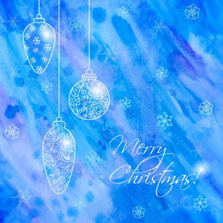 Božićna čestitka sa ručno nacrtanim stilom kuglica GC0063