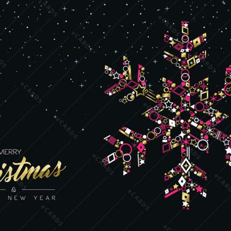 Božićna i Novogodišnja zlatna pahuljica - čestitka GC0020