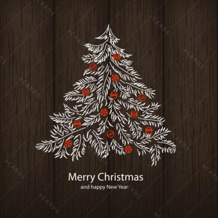 Božićni bor na drvenoj podlagi čestitka GC0039