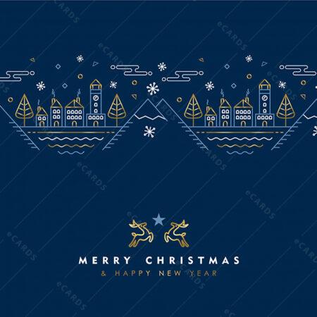 Božićni i Novogodišnji zlat linijski uzorak - čestitka GC0017