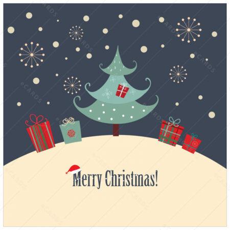 Božično drvce sa poklonima čestitka GC0034