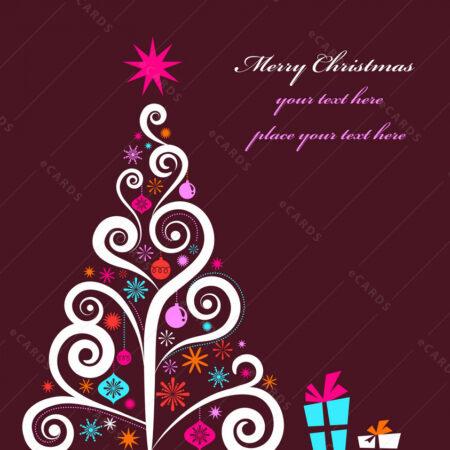 Božićno drvce sa poklonima čestitka GC0053
