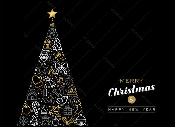 Božićno i novogodišnje drvce sa zlatnim obrisom - čestitka GC0018
