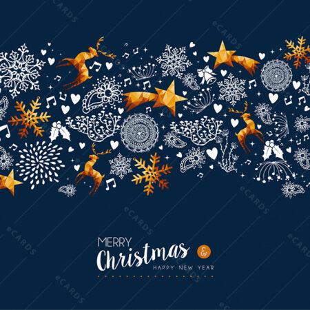 Božićno-novogodišnja zlatna blagdanska atmosfera - čestitka GC0019