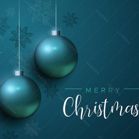 Elegantne božićne plave kuglice - čestitka GC0005