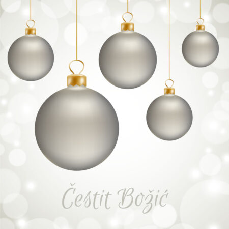 Srebrne Božićne kuglice čestitka GC0028