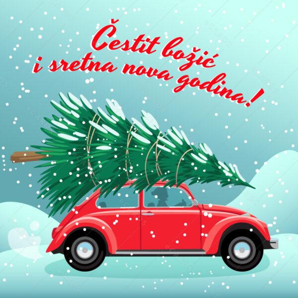 Novogodišnje drvo na autu e-čestitka GC0159
