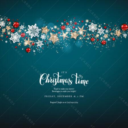 Plavi Božić sa božićnim ukrasima - čestitka GC0006