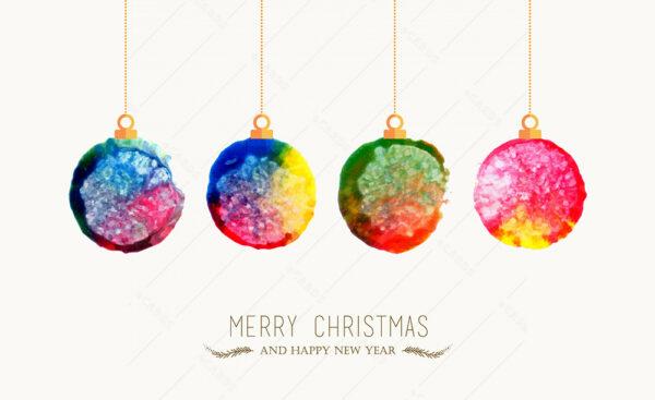 Raznobojne Božićne kuglice čestitka GC0030