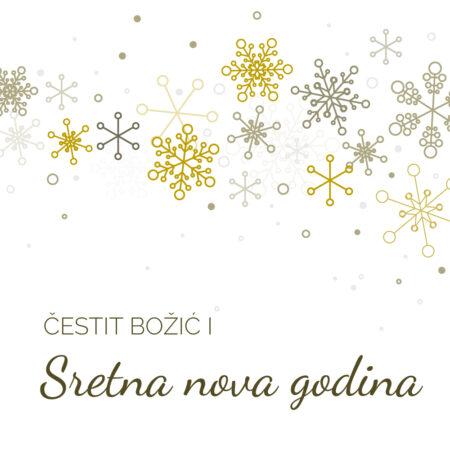 Retro Božićna čestitka sa ukrasnim pahuljicama GC0139