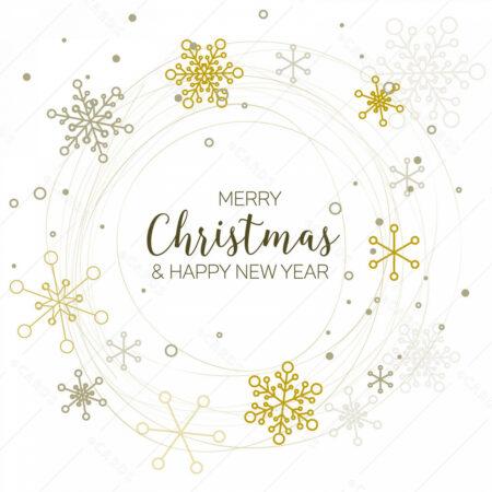 Retro Božićna čestitka sa ukrasnim pahuljicama u krugu GC0138
