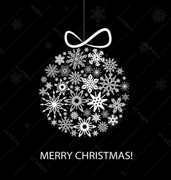 Srebrna Božićna kuglica čestitkaGC0062