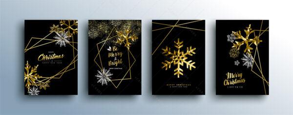 Zlatna luksuzna čestitka za Božić in novu godinu GC0065